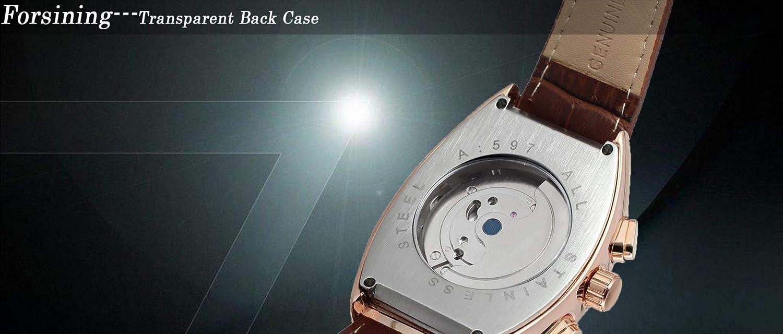 Herrklockor automatisk mekanisk svänghjul klocka rektangulär läderrem trendklocka Black Rose Gold Shell