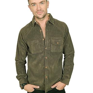 5eec1b3def2 Men s PROSPECTIVE FLOW -  quot AOMORI quot  Micro-Corduroy Shirt in Olive  ...