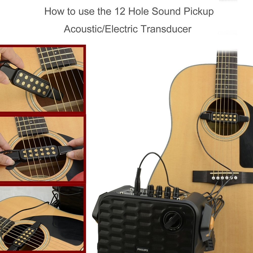 Guitar Pickup,12 Hole Sound Pickup For Acoustic/Electric Guitar Transducer Microphone Wire Amplifier Speaker 3M Guitar Parts
