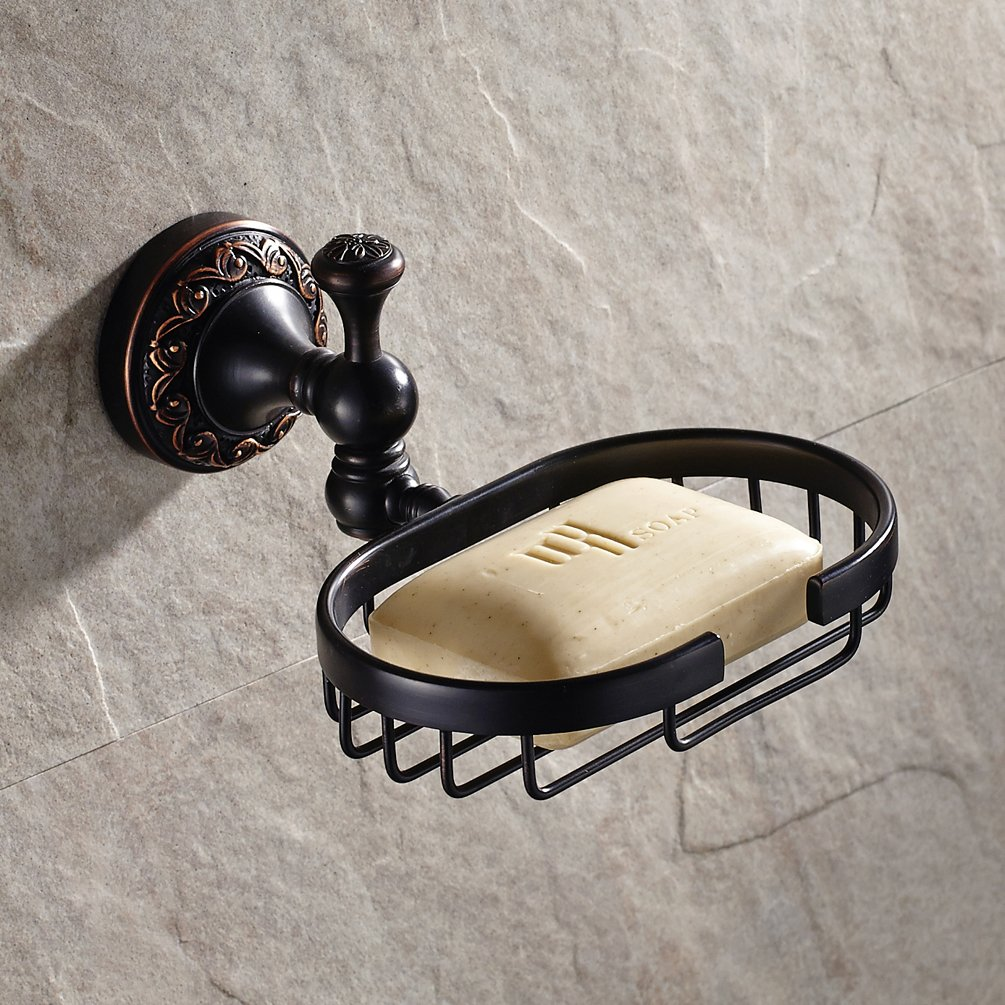 Elegant Oil Rubbed Bronze Finish Soap Wire Basket Wall Mount Bathroom Soap Storage Caddy Made of Solid Brass
