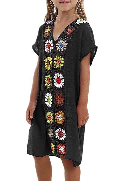 d3400b61dd931 KIDVOVOU Kids Girls Swimsuit Beach Cover-up Crochet V-Neck Swim Dress,Black