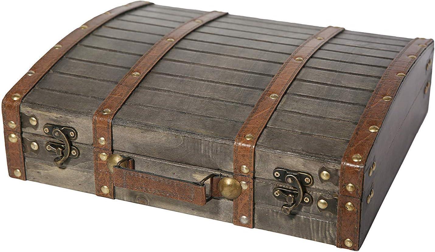 Soul & Lane Caja de Almacenamiento de Madera Decorativa Amelia | Maleta con Forma de baúl con Estilo para decoración Antigua Vintage