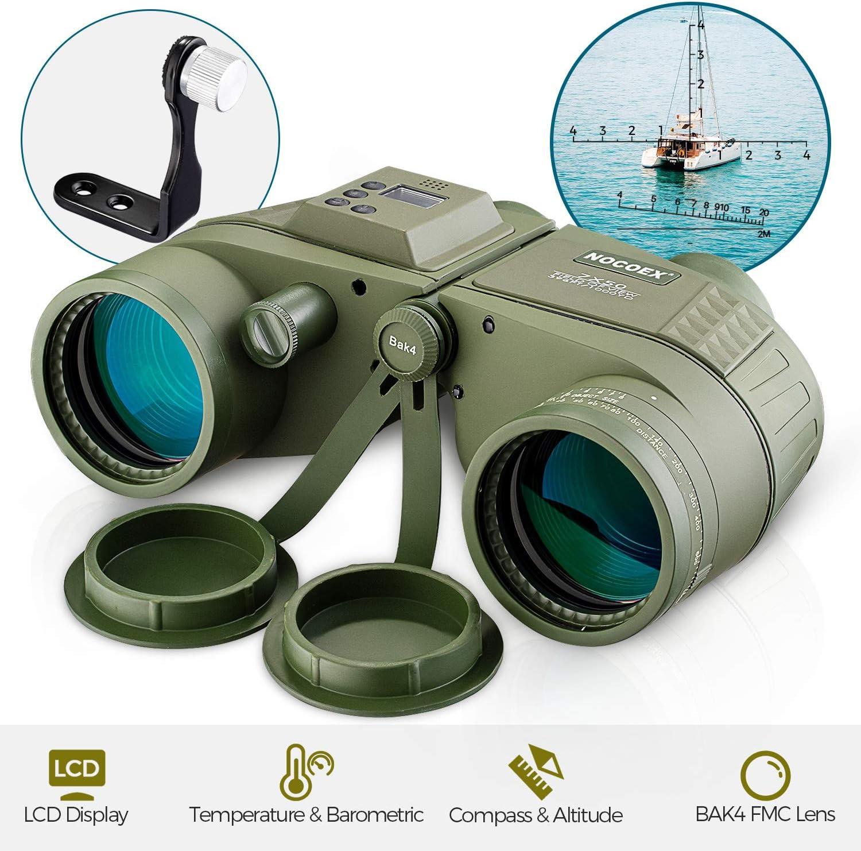 NOCOEX 7x50 Binoculares Marinos para Adultos Binoculares de Pantalla LCD Altitud Temperatura y Presión de Aire con Impermeable Telémetro Brújula BAK4 FMC Prisma Porro para la Navegación Ejercito Verde