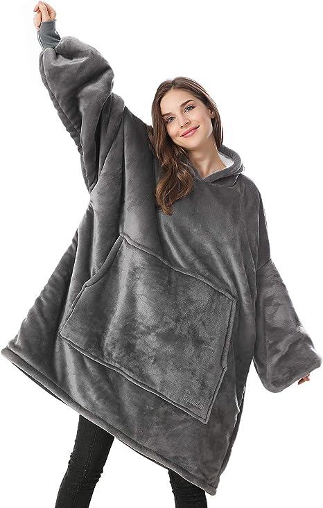 Lutos Plus Size Women Sherpa Pullover Plain Hoodies Oversized Sweatshirts Irregular Hem Button Outwear
