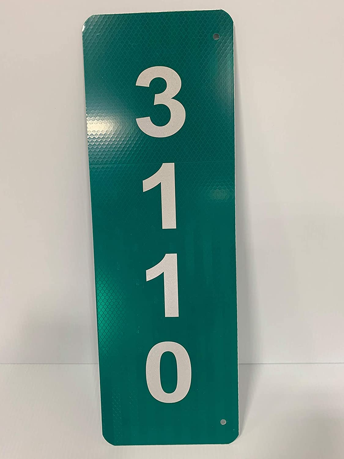 Custom Reflective Green 911 Address Aluminum Sign (Numbers on Both Sides)