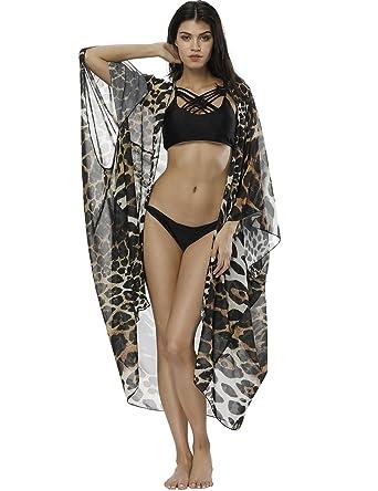 f6e835c174 Fancyqube Women s Sheer Chiffon Flowy Kimono Cardigan Capes Long Tops Loose  Summer Beachwear Cover Up Leopard
