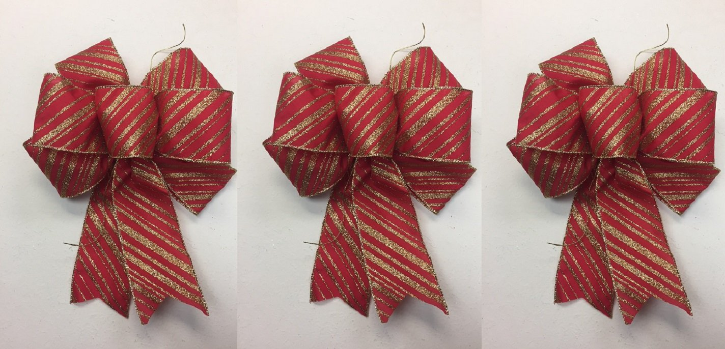 Wired Red Bow With Gold Glitter Stripes Christmas Bows 3 Handmade Holiday Bows 8 - 9 Inches in Diameter - Hand Made Bow By Wreaths For Door