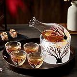 DUJUST Japanese Sake Set for 4, Handcraft Pink Cherry Blossoms Design, 1 Sake Bottle, 1 Sake Tank and 4 Sake Cups, Cold/Warm/
