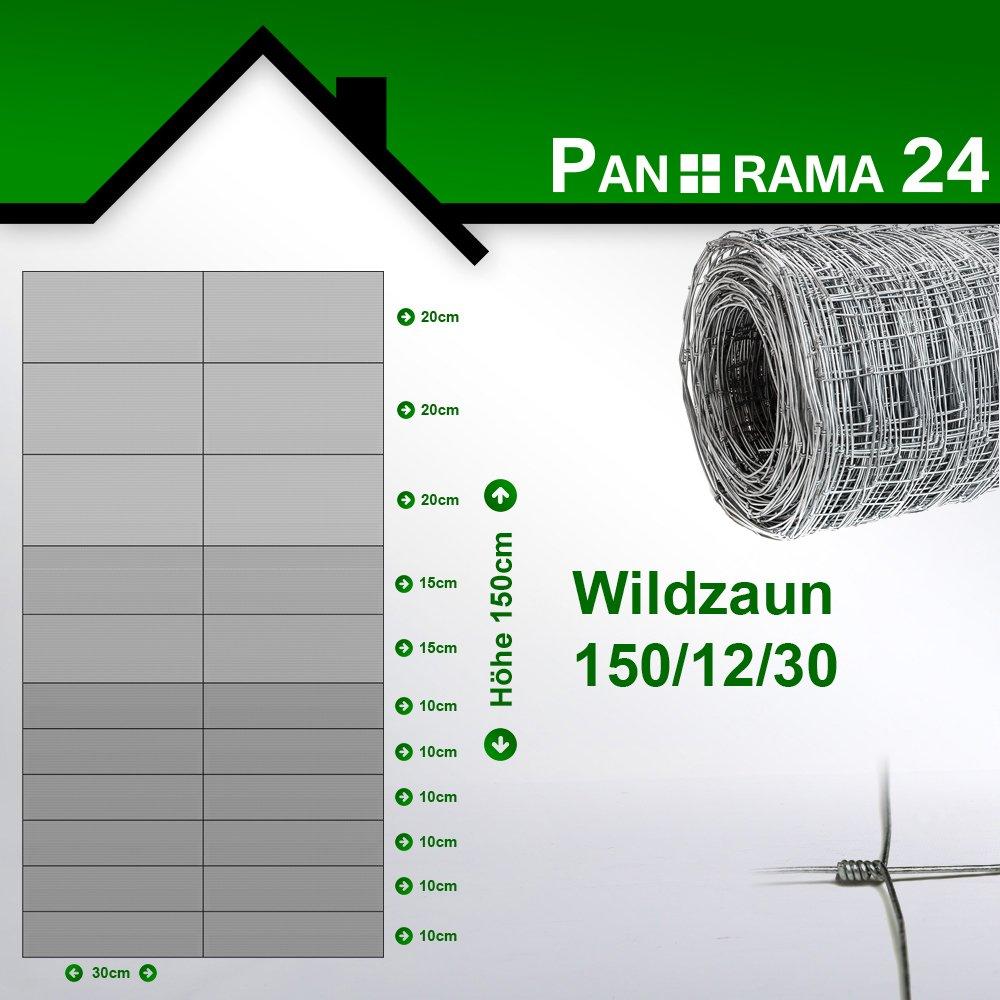 Forstzaun Gartenzaun Draht Zaun 50m Rolle Panorama24 Wildzaun GRATIS Spanndraht Alle Gr/ö/ßen