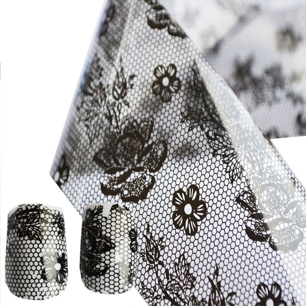 Aiweikang Manicure Print Decorations Transfer Flowers Foils Polish Sticker Lace Flower Black Nail Art