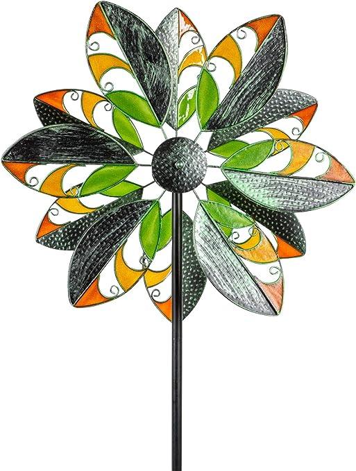 dekojohnson – Molinillo de Viento para el jardín de Metal Molino de Viento Doble acrílico Verde/Naranja/Amarillo 180 cm Grande: Amazon.es: Jardín