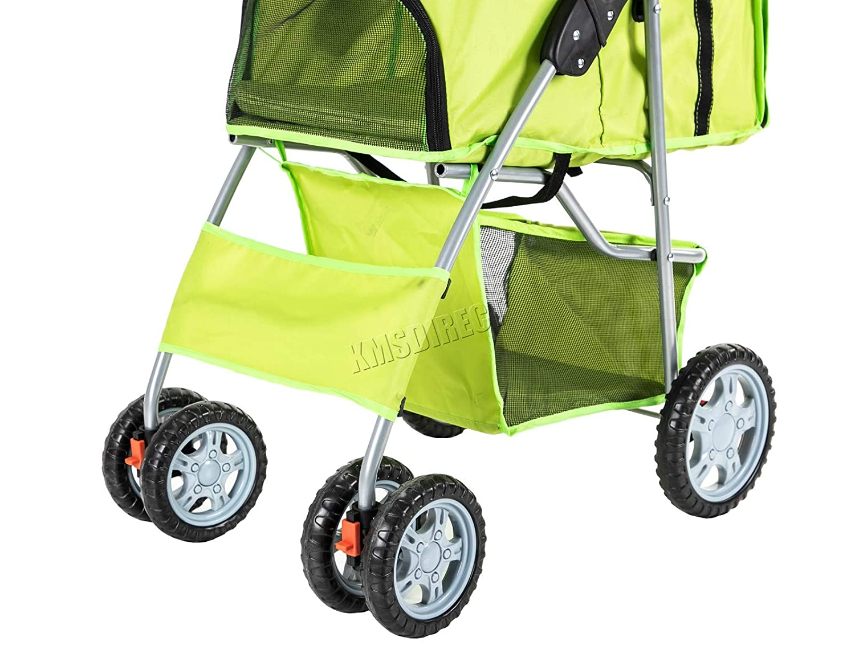Dog Buggy For Traveling FoxHunter New Dog Pram Travel Vet Stroller Disabled Dog Pushchair UK Seller Pet Dog Cat Animal Stroller 2 Front Swivel Wheels /& Rear Brake Green