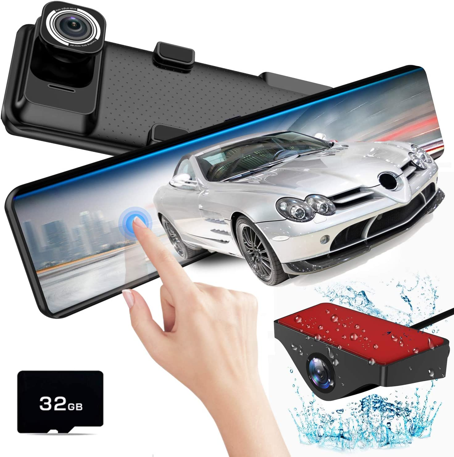 "AKEEYO X2 Mirror Dash Cam for Cars 12"" IPS Touch Screen FHD 1080P Front and Rear Dash Camera with HDR, Night Vision, Parking Monitor, Reverse Image, G-Sensor, Loop Recording"