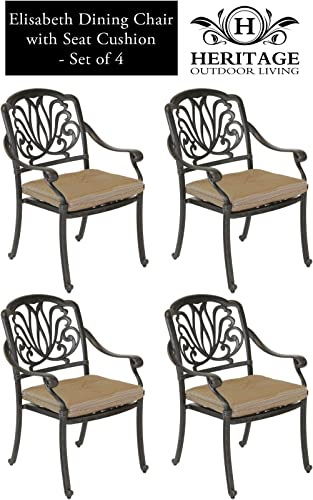Heritage Outdoor Living Elisabeth Cast Aluminum Dining Chair – Set of 4 – Antique Bronze