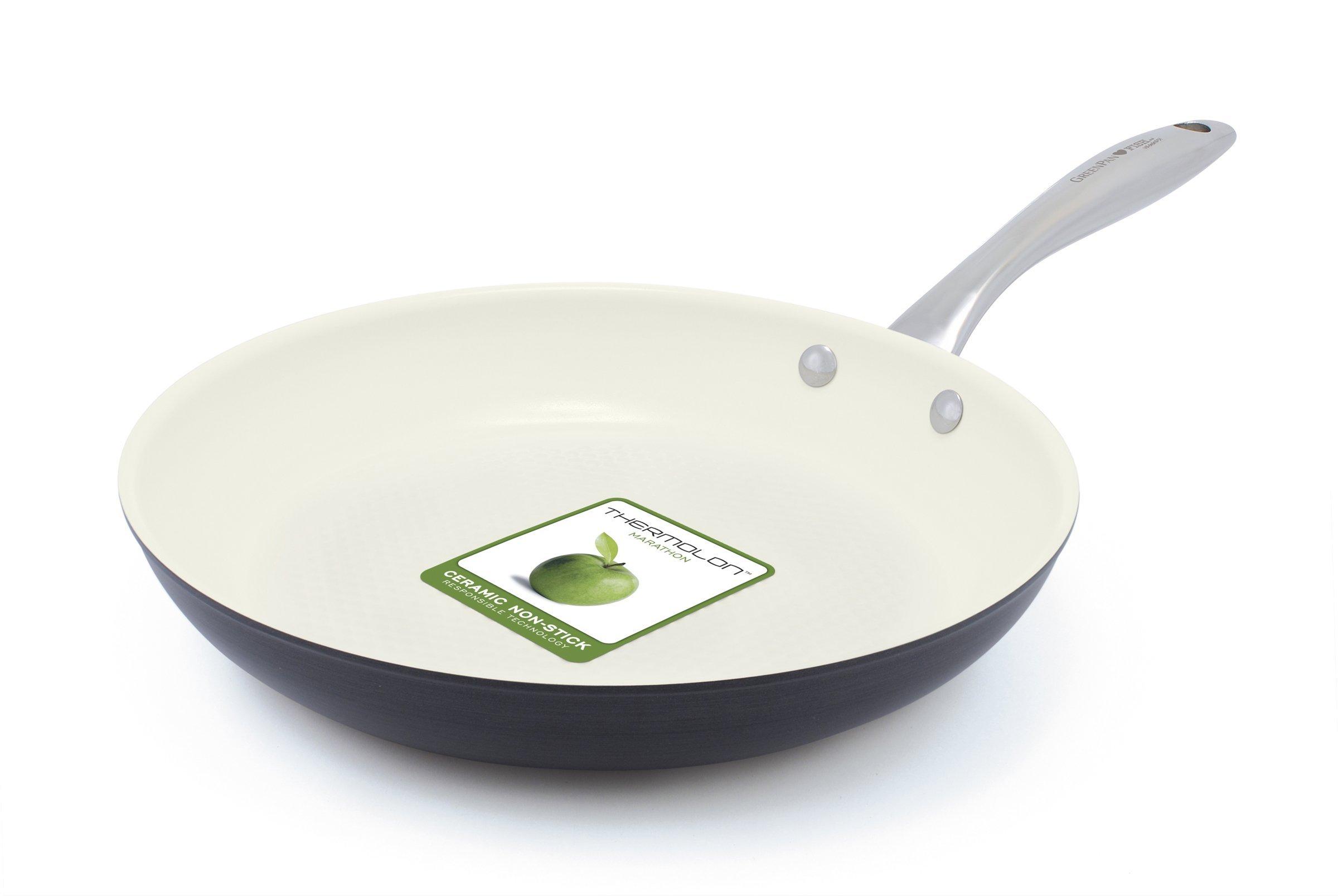 GreenPan Lima 3D ''I Love Fish & Veggies and ''I Love Meat'' Dishwasher Safe Hard Anodized Fry Pan Set, 10''/11'', Gray/Cream