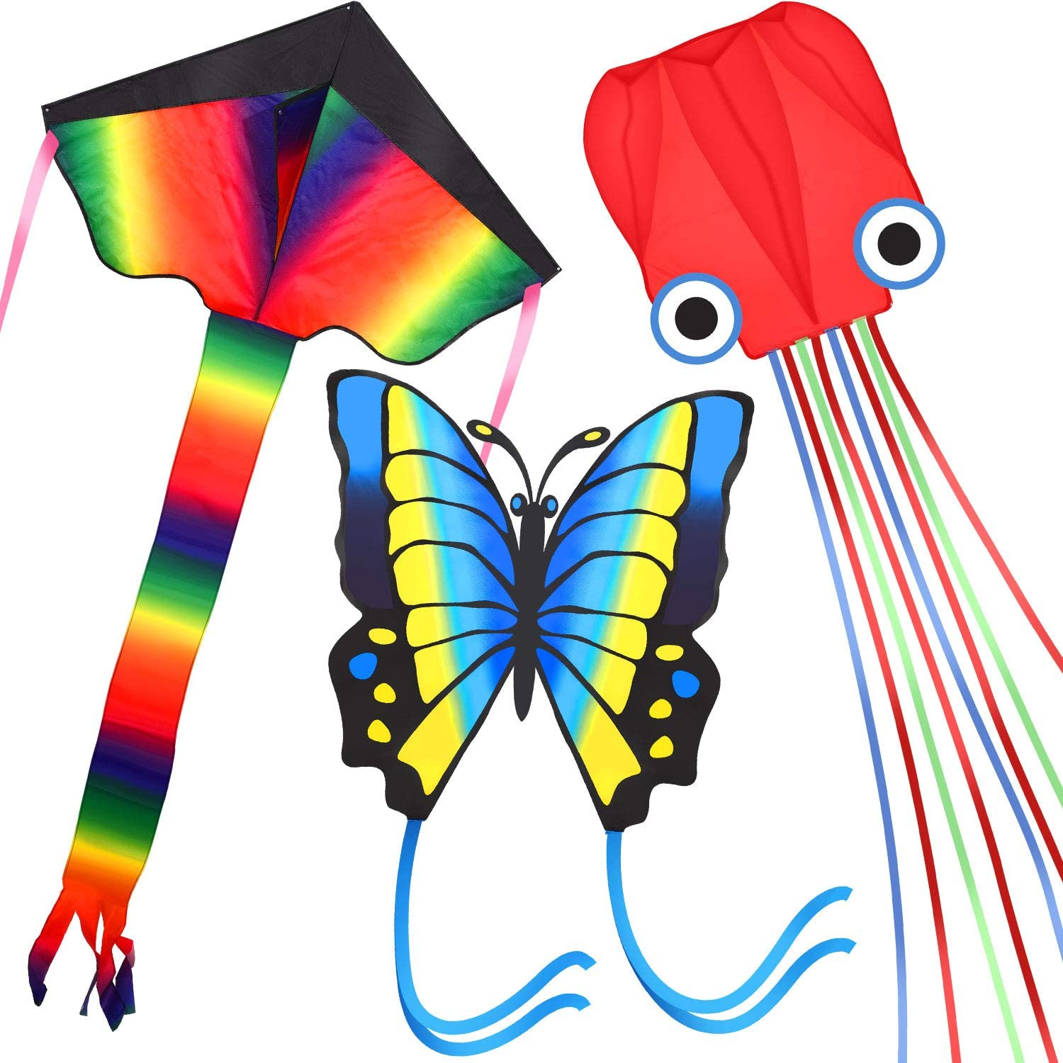 Sumind 3 Pieces Huge Kites Large Rainbow Delta Kite Blue Butterfly Kite and Red Mollusc Octopus Kite with Long Colorful Tail for Adult and Teens Outdoor Games and Activities, Great Gift