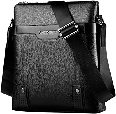 LAORENTOU Men Genuine Leather Shoulder Bag Crossbody Bag Business Cowhide Messenger Purse Cross body Bags For Men