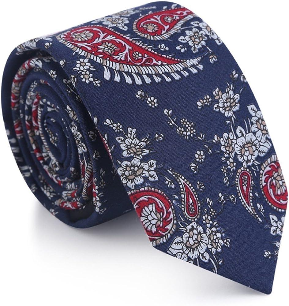 HXCMAN 6cm negro rojo azul cachemir paisleyfloral estrecha corbata ...