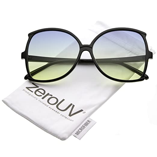 4084376a0aa zeroUV - Women s Oversize Slim Arms Color Tinted Lens Butterfly Sunglasses  61mm (Black Blue
