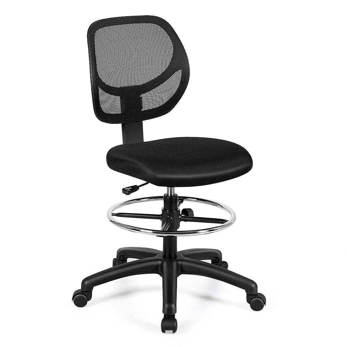 Giantex Mesh Drafting Chair, Mid Back Adjustable Height Chair for Standing Desk, Ergonomic Computer Swivel Chair with Footrest Ring, Home Sturdy Office Furniture, Black by Giantex