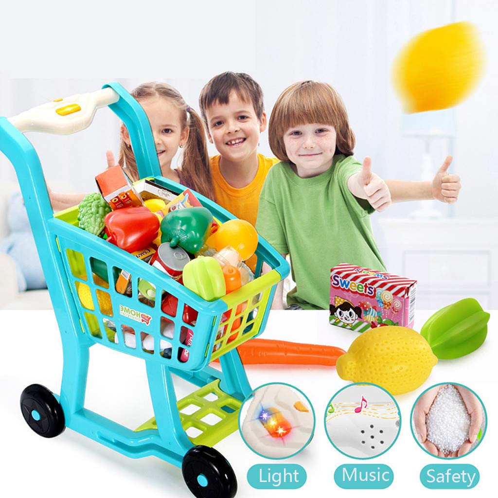 Children's Shopping Cart Toy Groceries Pretending Toys Groceries, Toys, GroceriesPretend Cutting Food Playset with Carry Bag for Children Girls Boys Educational Develop Skills Kid Gift Utensils by DDIGEjin