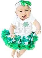 St Patrick Day Baby Dress Love Leaf White Bodysuit Green Clovers Tutu Set Nb-18m