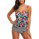 SESY High Waisted Tankini Swimsuits Bathing Suit Floral Printed Swimwear with Briefs for Women