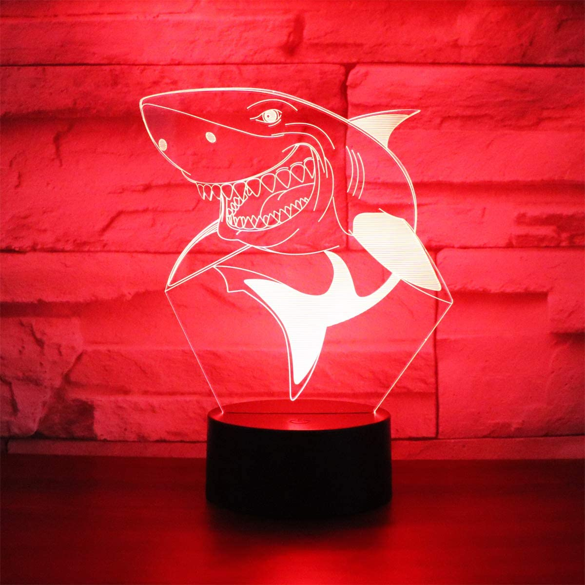 Hguangs Shark Lamp Gift Table Night Light for Kids 7 Colors Changing Touch Control Toy Christmas Birthday Valentine's Day Children