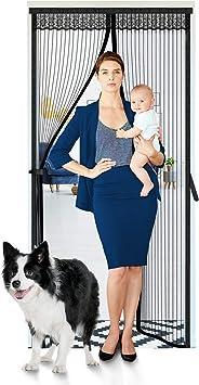 Upgraded Reinforced Magnetic Screen Door Hands-Free,Pet Friendly Sliding Door Screen Door Mesh Door Fits Doors Up to 38x82, Black Self Sealing
