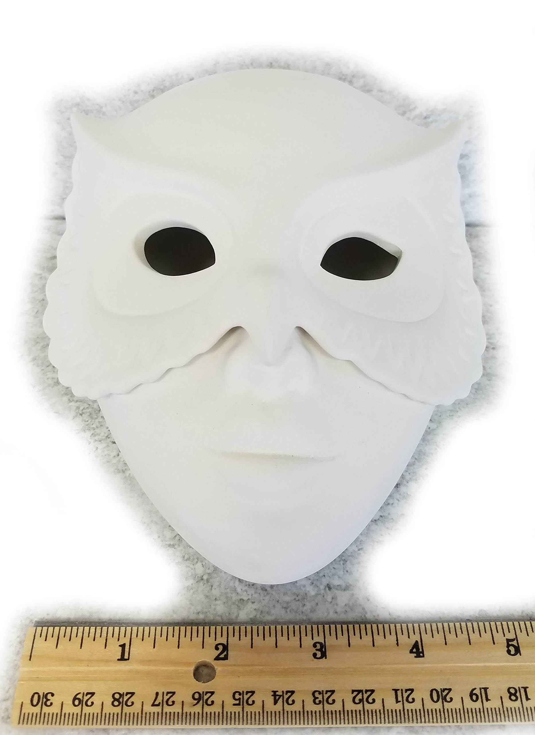 Bisque - Owl Mask Box (Unpainted, Ready for Glaze)