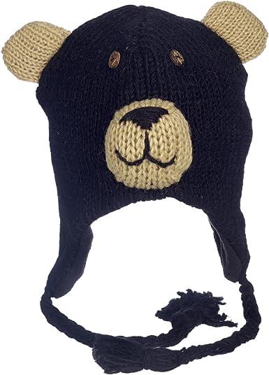 Gorro con forro polar Divertido con dise/ño de jirafa hecho a mano para invierno de lana