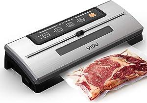 YIOU Vacuum Sealer Machine, Food Saver Vacuum Sealer Machine Build-in Cutter 80Kpa Vacuum Sealer for Food with Starter Kit Led Indicator Lights Dry Moist Mode Easy to Clean Food Vacuum Sealer, Silver