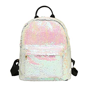 Amazon.com: YEZIJIN Women Fashion School Style Sequins Travel Satchel School Bag Backpack Bag: Baby