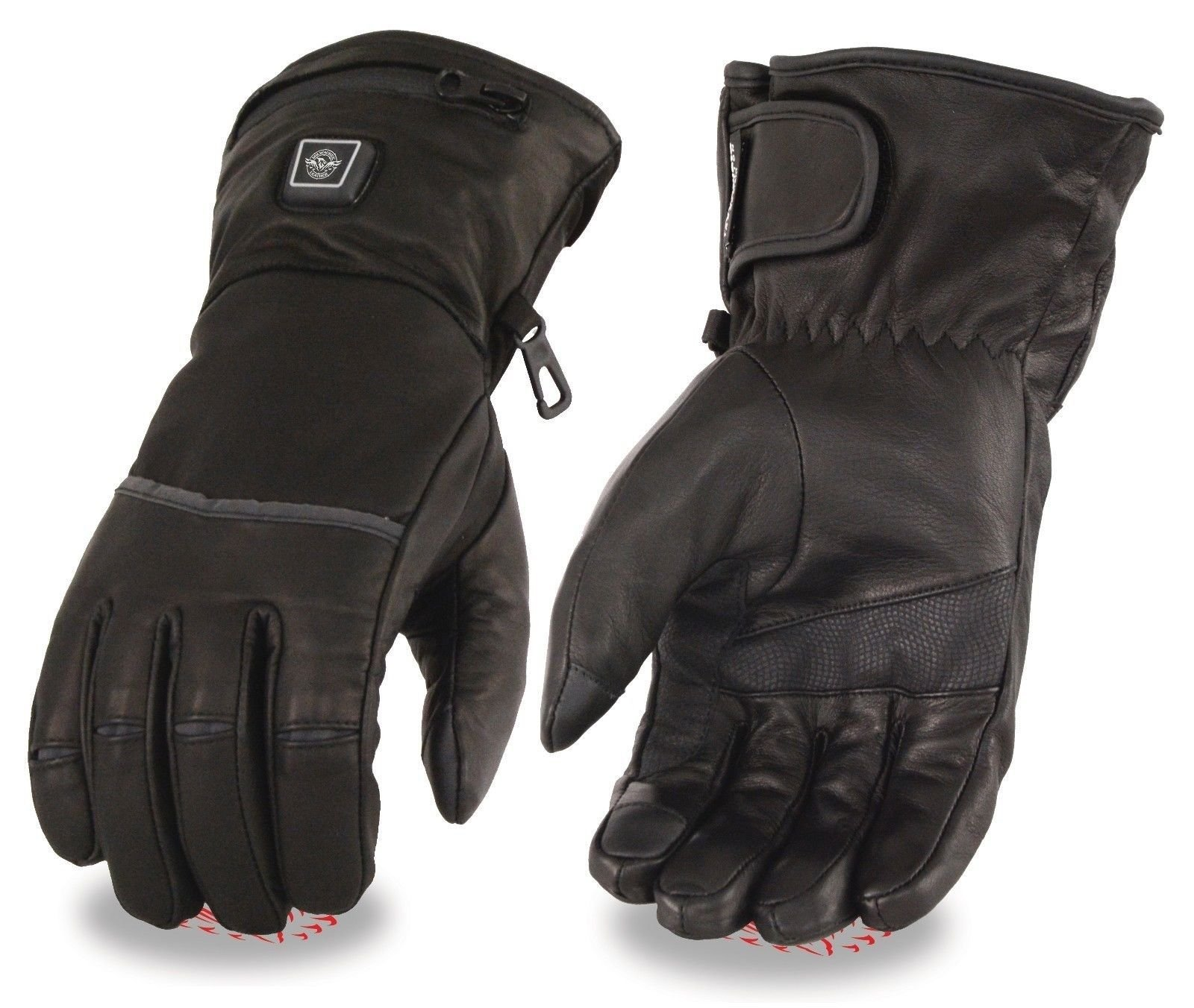 MEN'S MOTORCYCLE HEATED GLOVES W/ TOUCH SCREEN FINGERS BUTTER SOFT LEATHER (XS Regular)