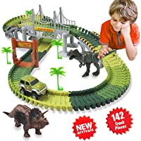 HOMOFY Dinosaur Toys 142 Pcs Flexible Car Race Tracks with 2 Dinosaurs 2,1 Military Vehicles,4 Trees,2 Slopes,1 Double-door and 1 Hanging Bridge Toddler Toys for 2 3 4 5 Years Old Boys and Girls