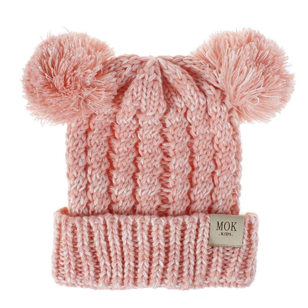 RISTHY Niños Invierno Cute 2 Pom Pom Ears Soft Beanie Hat Niños ...
