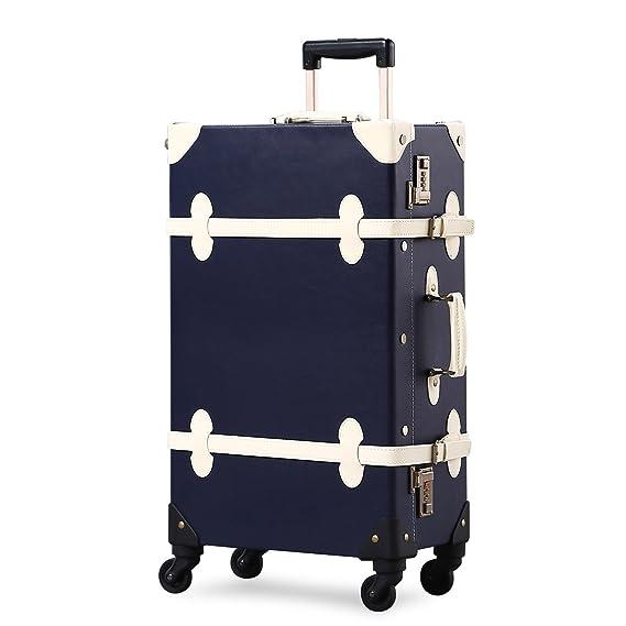 Amazon.com | Unitravel Vintage Suitcase Retro PU Trunk Rolling Spinner Lightweight Luggage | Suitcases