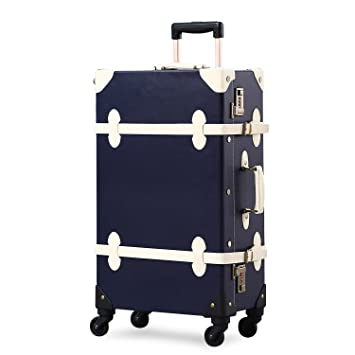 Amazon.com | Unitravel Vintage Suitcase Retro PU Trunk Rolling Spinner Lightweight Luggage | Suitcases
