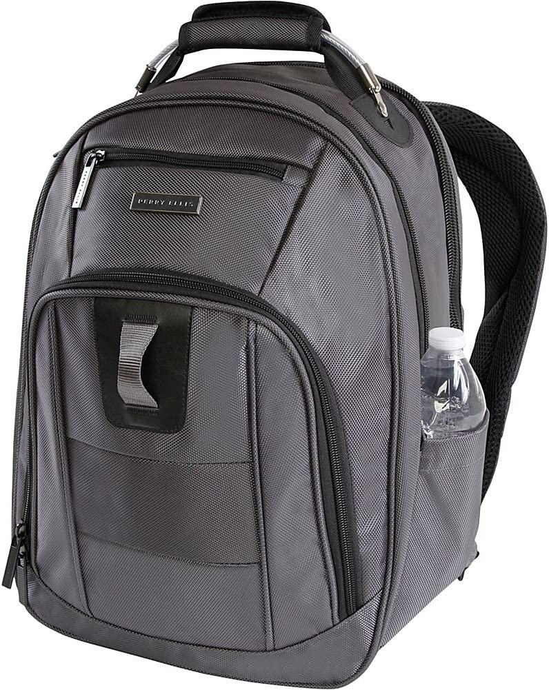 Perry Ellis Men's M328 Business Laptop Backpack with Tablet Compartment, Charcoal, One Size
