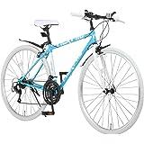 Nex Tyle(ネクスタイル) クロスバイク 700C シマノ製21段変速 NX-7021 適用身長155cm以上 【ブラック/ホワイト/スカイブルー/レッド】