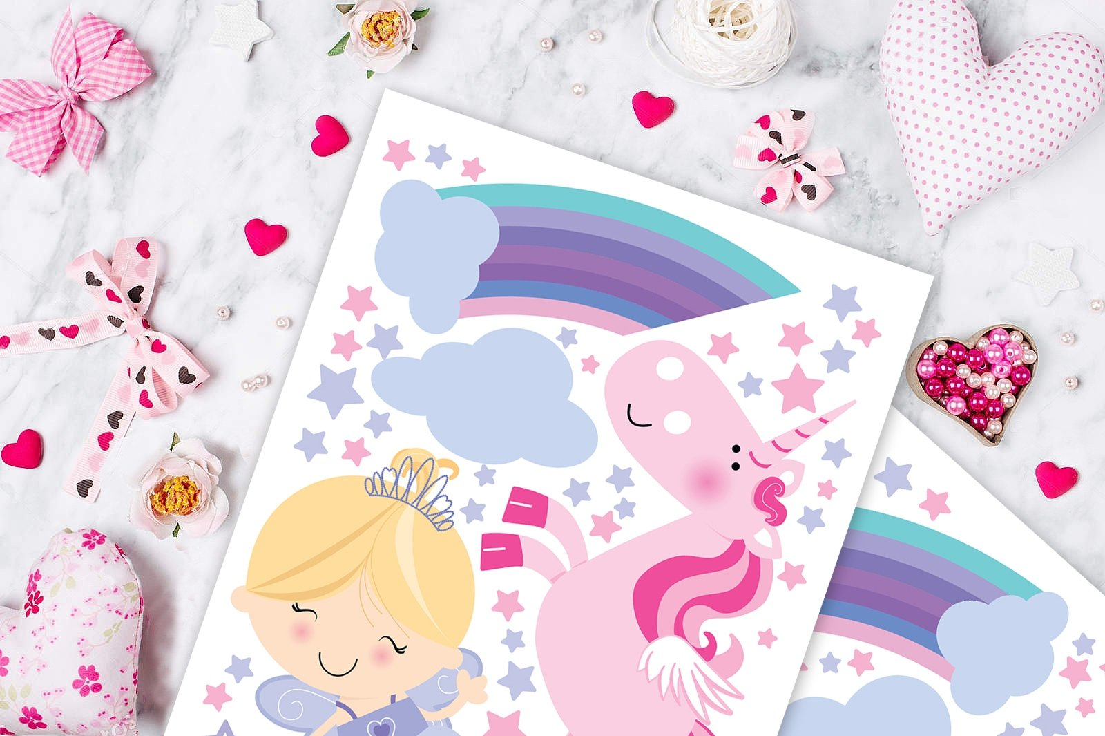 Fairy Unicorn Baby Girl Room Décor Stickers - Princess Playroom Wall Decals with Free Gift! 9