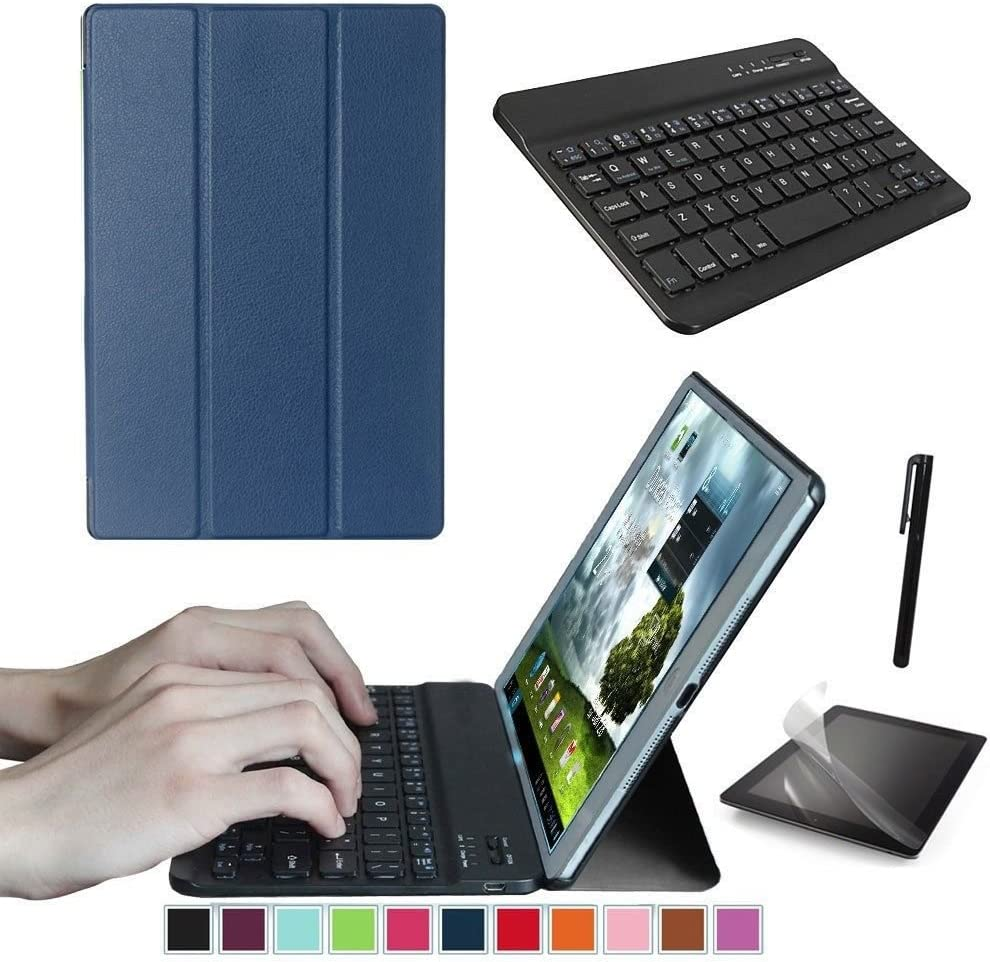 Starter Kit Replacement Suits for Lenovo Tab 3 10.1 Inch TB-X103F Tablet, Smart Case, Case with Keyboard, Free Screen Protector and Stylus Pen Included. (Navy Blue)