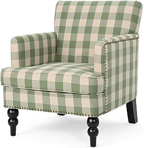 Eve Tufted Fabric Club Chair, Green Checkerboard