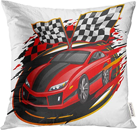 Amazon Com Vanmi Throw Pillow Cover Red Race Speeding Racing Car With Checkered Flag Racetrack Design Black Fast Vehicle Decorative Pillow Case Home Decor Square 16x16 Inches Pillowcase Home Kitchen