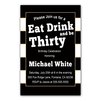 Amazon 30 invitations black white gold stripes adult 30th 30 invitations black white gold stripes adult 30th birthday party or any age personalized cards filmwisefo