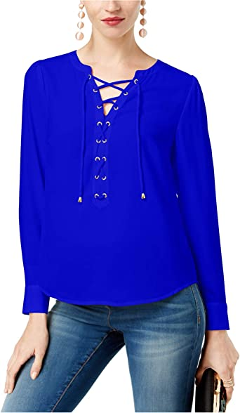 I-N-C Womens Lace-Up Knit Blouse