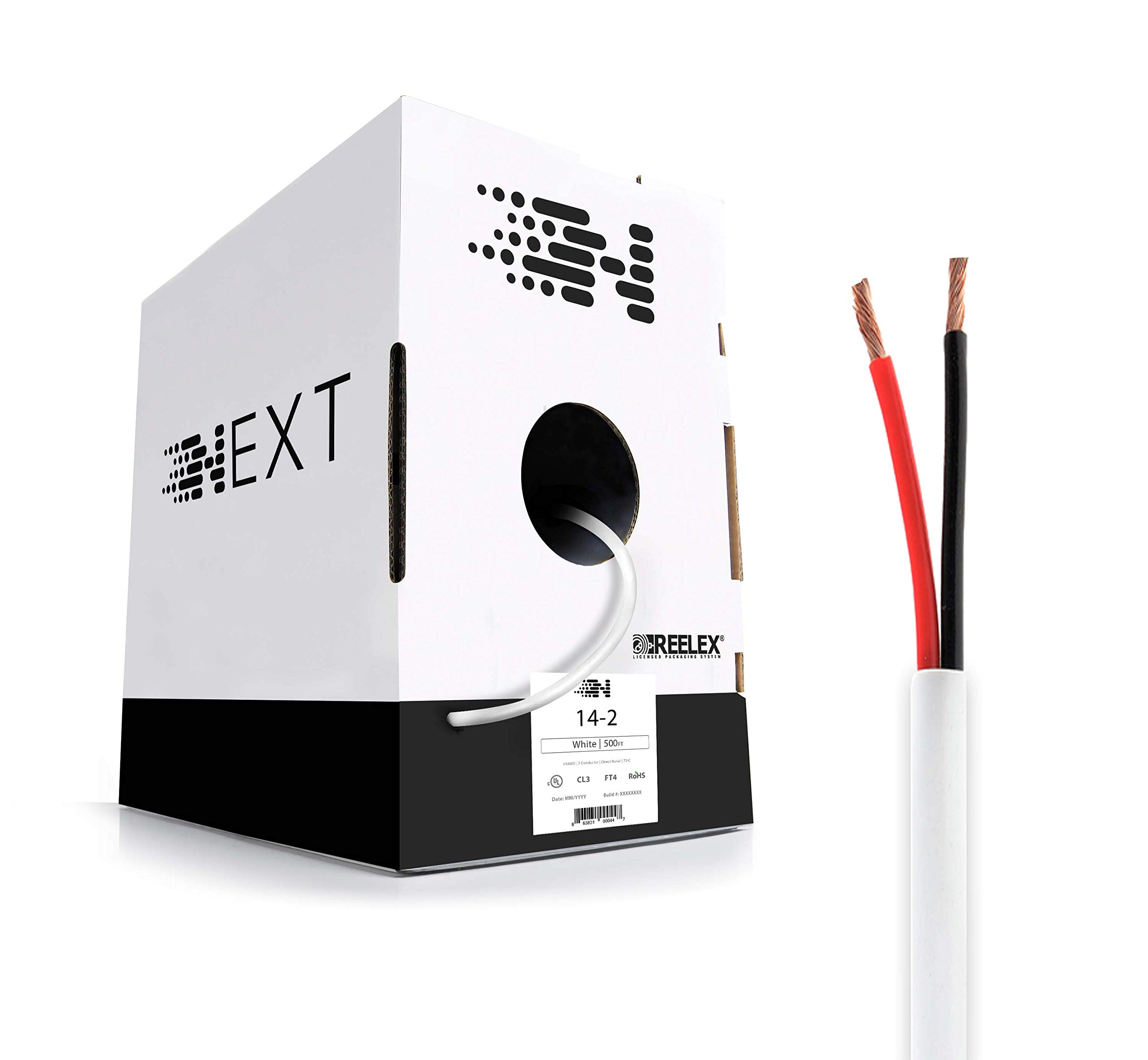 Next 14/2 Speaker Wire - 14 AWG/Gauge 2 Conductor - UL Listed In Wall (CL2/CL3) and Outdoor/In Ground (Direct Burial) Rated - Oxygen-Free Copper (OFC) - 500 Foot Bulk Cable Pull Box - White by Next