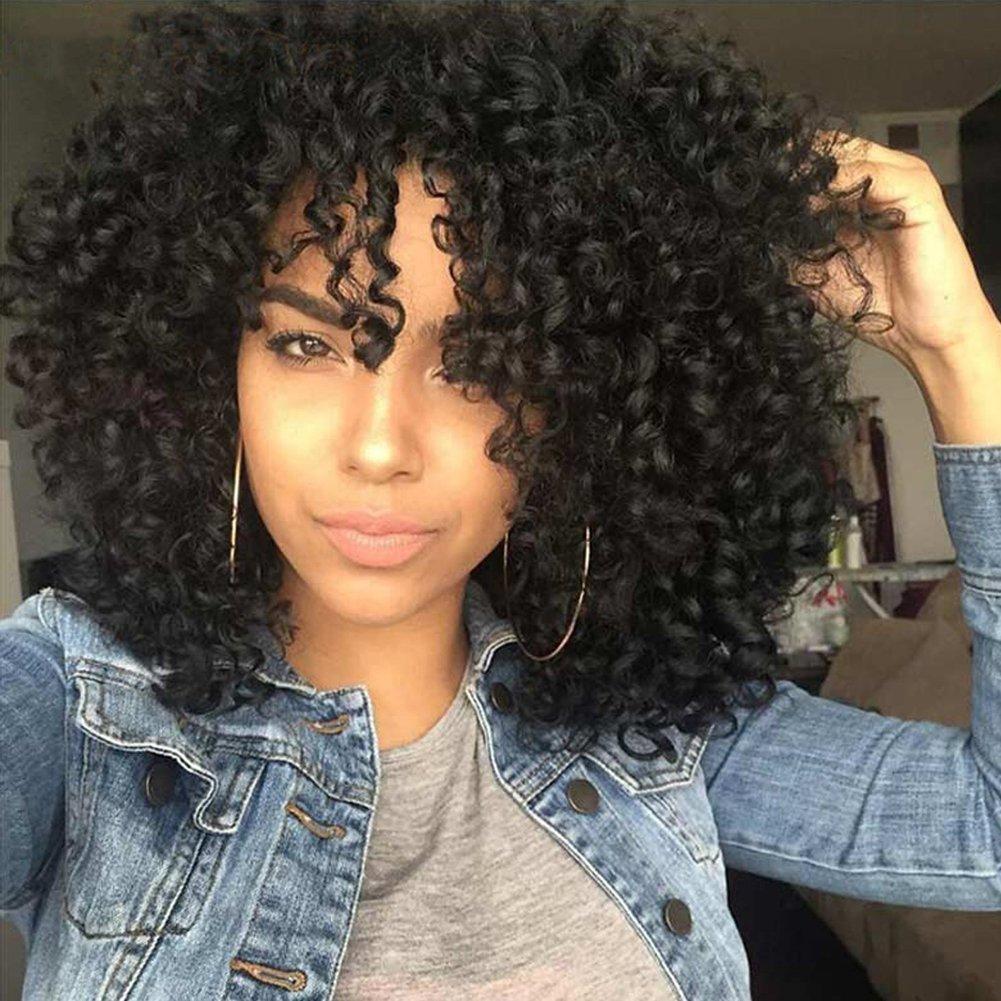PhoenixFlame Hair Black Wig Lady Wig Curl Wig Short Wig Synthetic Wig Black Curl Light Wig Breathable Wig Black Natural Heat Resistant Fiber Wig - Wig Hat 14'' 180g Natural Black