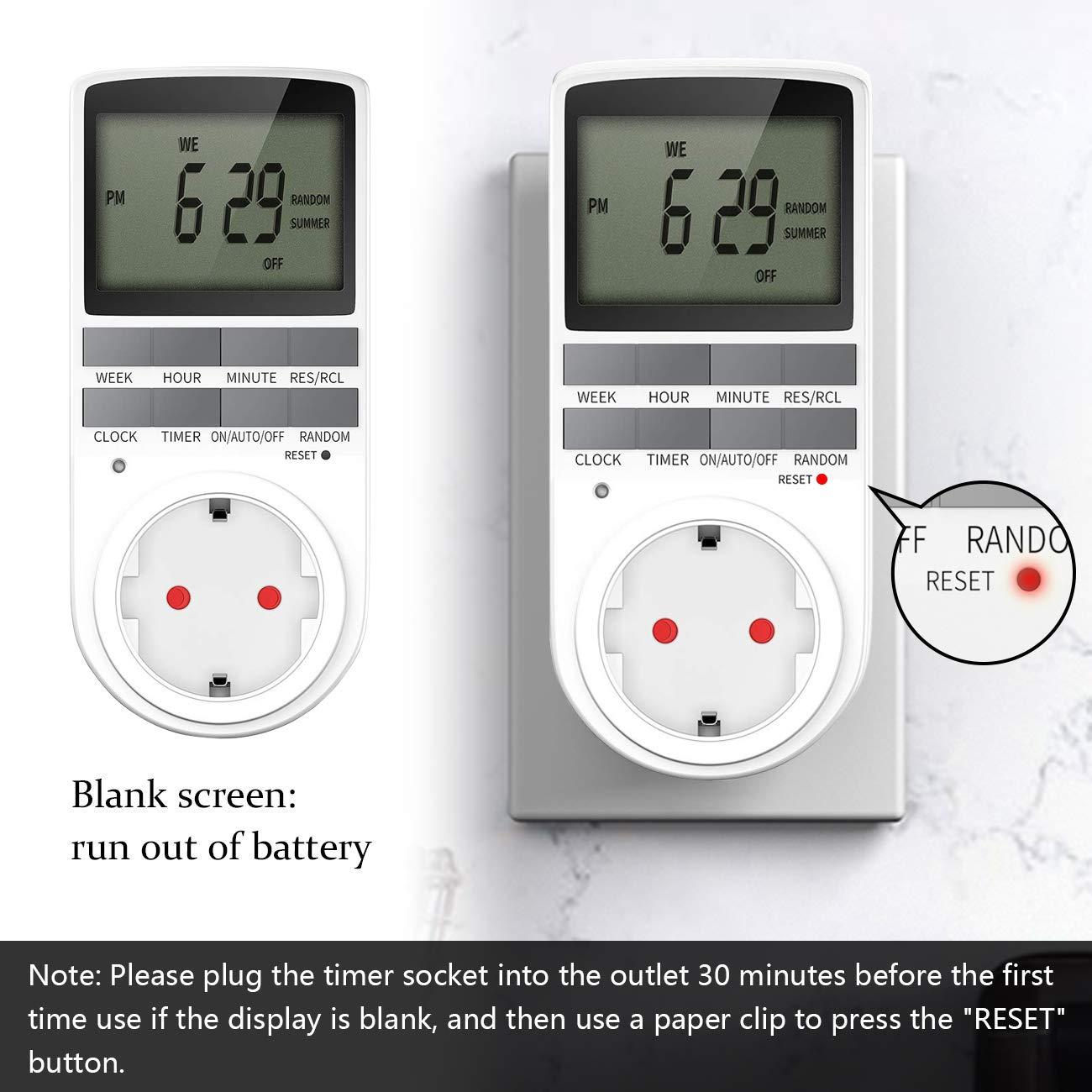 2er Digitale Zeitschaltuhr,EXTSUD Digitale Elektrische Zeitschaltuhr Steckdose LCD Display Steckdosenschalter mit 10 konfigurierbare w/öchentlichen Programme und Random Diebstahlsicherung 12//24h 3680W
