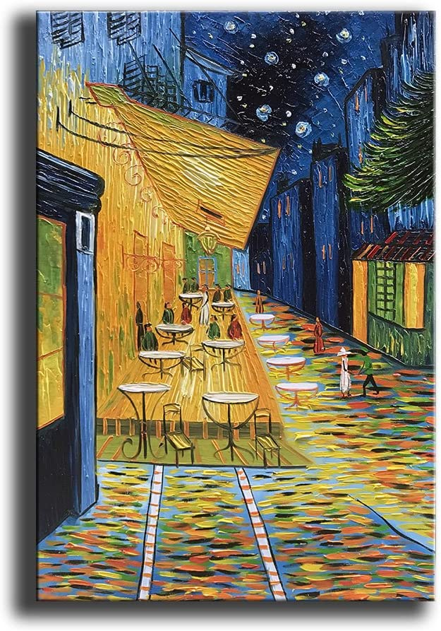 YaSheng Art - Cafe Terrace at Night by Van Gogh Famous Oil Paintings Reproduction Artwork Modern hand-painted Landscape Art Pictures Home Living Room Bedroom Office Decor Canvas Wall Art Painting